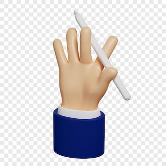 3d ręka trzyma ołówek lub cyfrowy rysik do tabletu, aby tworzyć szkice notatki na białym tle
