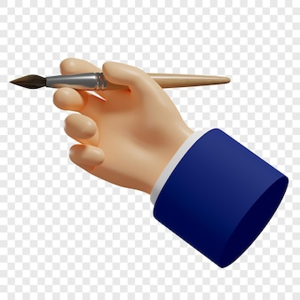 3d ręka trzyma pędzel proces twórczy tworzenia projektu strony internetowej aplikacji mobilnych itp