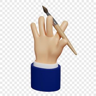 3d Ręka Trzyma Pędzel Proces Twórczy Tworzenia Projektu Strony Internetowej Aplikacji Mobilnych Itp Premium Psd