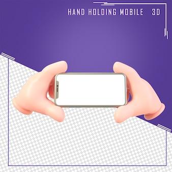 3d ręka trzyma telefon komórkowy z białym ekranem