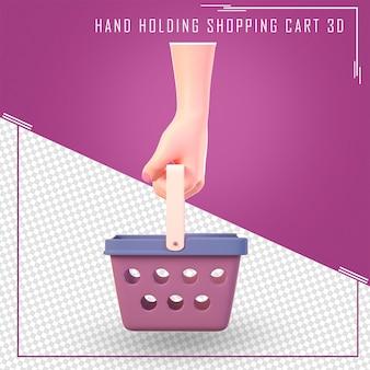 3d ręka trzymać koszyk