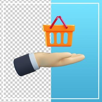 3d ręka z ikoną koszyka na zakupy
