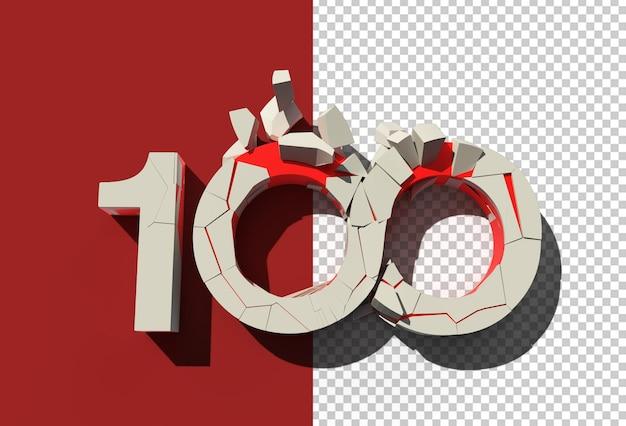 3d render 100 złamany numer przezroczysty plik psd.