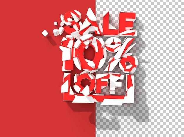 3d render abstrakcja broken 10% wyprzedaż zniżki przejrzysty plik psd.
