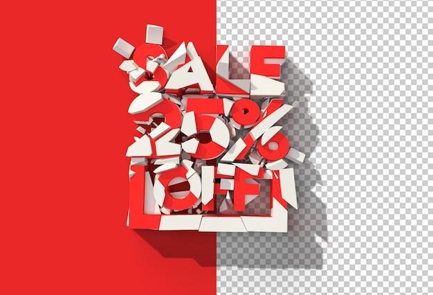 3d render abstrakcja broken 25% wyprzedaż zniżka zniżka przezroczysty plik psd.