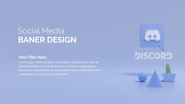 3d render aplikacji mediów społecznościowych ikony discord i drzewa tob