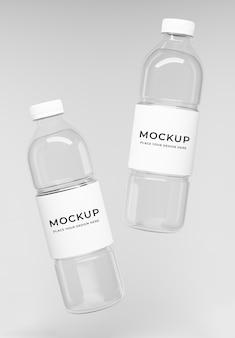 3d render butelek wody z makietą etykiety
