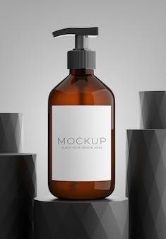 3d render butelki kosmetyków z wyświetlaczem produktu
