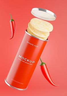 3d render chipsów ziemniaczanych z makietą chili