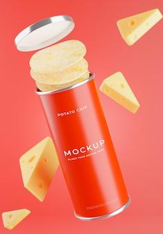 3d render chipsów ziemniaczanych z makietą sera