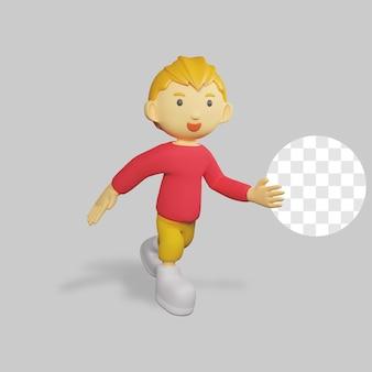 3d render chłopiec postać działa