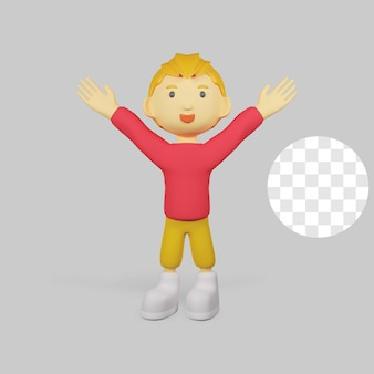 3d render chłopiec postać szczęśliwy