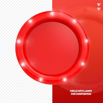 3d render czerwona ramka z lampami renderowania