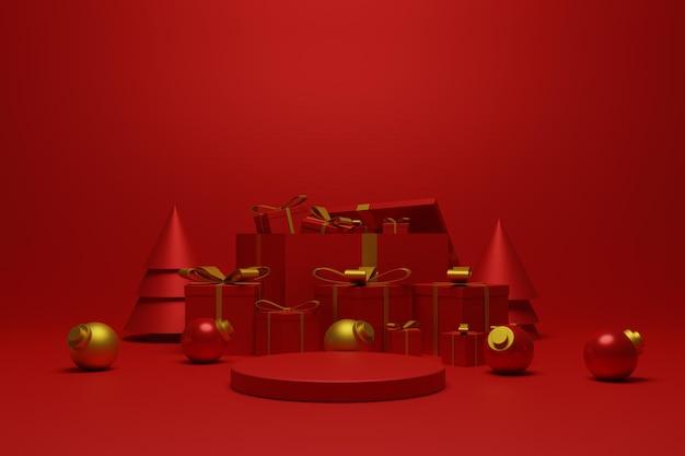 3d render czerwone podium boże narodzenie do prezentacji produktu