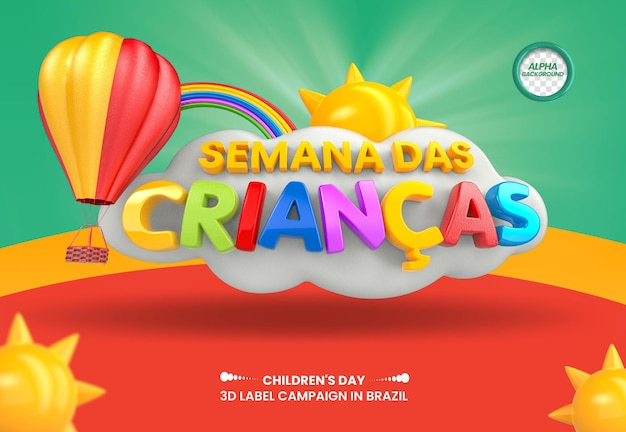3d render dla dzieci tydzień z balonem na ogrzane powietrze do kompozycji w brazylijskim designie w języku portugalskim