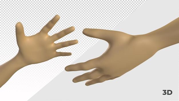 3d render dłoni przyjaźni