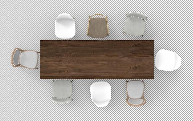 3d render drewniany stół z realistycznymi krzesłami na białym tle