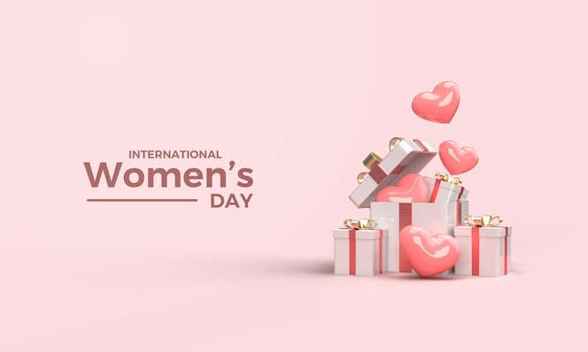 3d render dzień kobiet z ilustracją pudełka na prezenty i różowe balony miłości