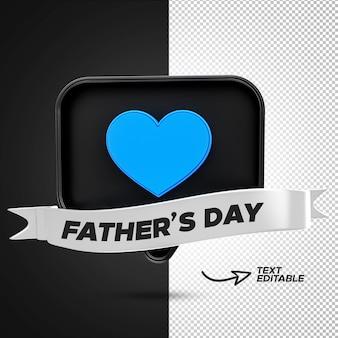 3d render dzień ojca facebook niebieska miłość reakcja z edytowalną wstążką premium psd