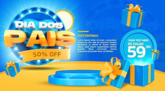 3d render dzień ojca promocja sprzedaży pieczęci 50 procent zniżki z podium i prezentem