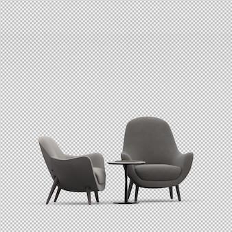 3d render fotel izometryczny