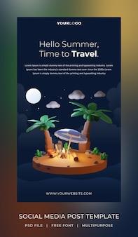 3d render, hello summer, szablon posta w mediach społecznościowych, noc tematyczna z kokosem i ogniskiem