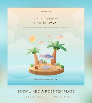 3d render, hello summer, szablon postu w mediach społecznościowych, z ilustracyjnym drzewem kokosowym i parasolową plażą