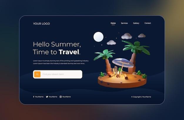 3d render, hello summer, szablon strony internetowej, noc tematyczna z kokosem i ogniskiem