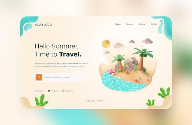 3d render, hello summer, szablon strony internetowej, z ilustracjami na plaży