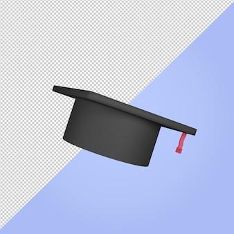 3d render ikona kawalerski kapelusz toga edukacja