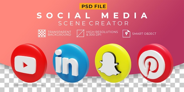3d render ikona kolekcji logo mediów społecznościowych
