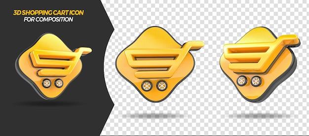 3d render ikona koszyka na zakupy do ogólnego składu