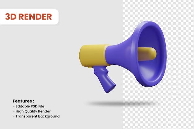 3d render ikona megafon na białym tle. nadaje się do ilustracji promocyjnych dla biznesu lub zakupów online.