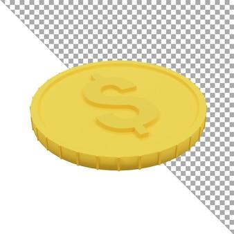 3d render ikona monety dolara