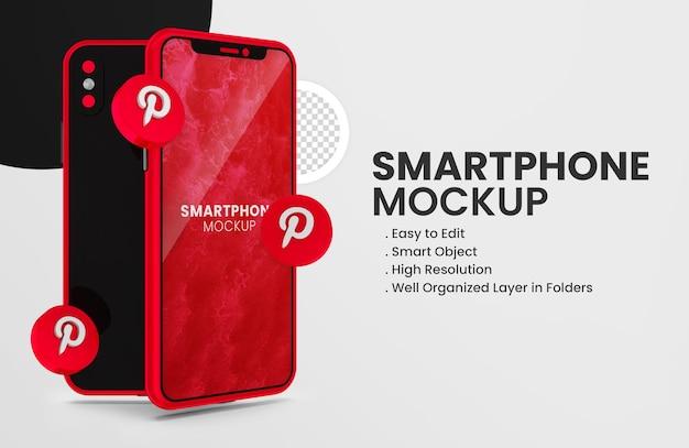 3d render ikona pinteresta na czerwonej makiecie smartfona