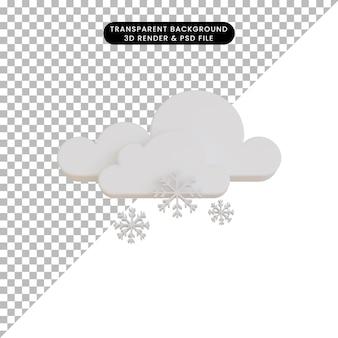 3d render ikona pogody śnieg