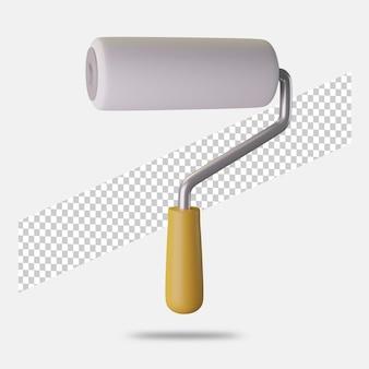 3d render ikona wałka do malowania na białym tle