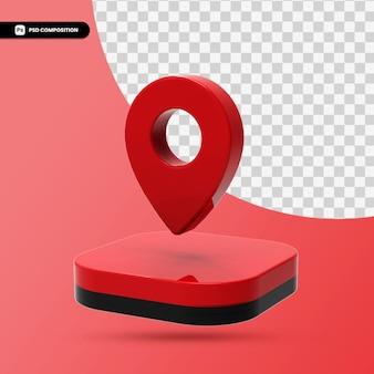 3d render ikona wskaźnika mapę czerwony na białym tle