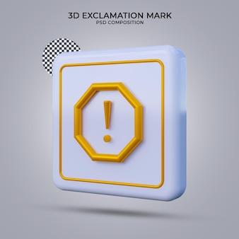 3d render ikona wykrzyknika na białym tle
