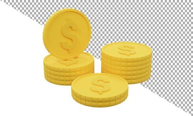 3d render ikona złota moneta dolar