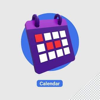 3d render ikony kalendarza