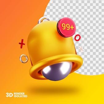 3d render ikony powiadomienia na białym tle