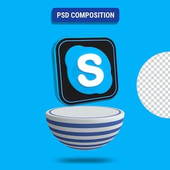 3d render ikony skype z niebieskim podium w paski