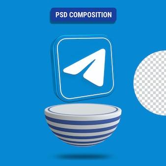 3d render ikony telegramu z niebieskim podium w paski