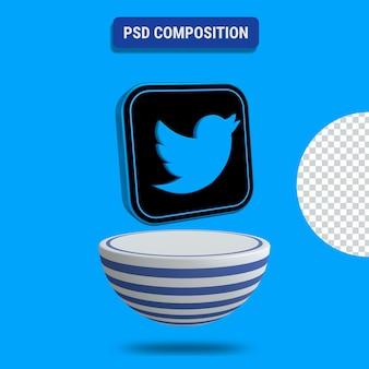 3d render ikony twittera z niebieskim podium w paski