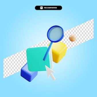 3d render ilustracja elementu geometrycznego na białym tle