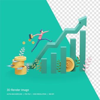 3d render ilustracja koncepcji inwestycji biznesowych