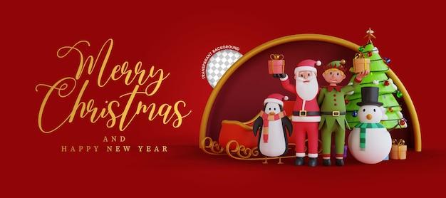 3d render ilustracja santa święty przynosi prezenty wesołych świąt pozdrowienia tło