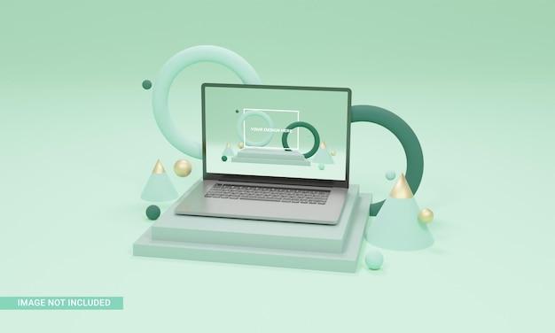 3d render ilustracja tło kształty makieta laptopa izometryczna