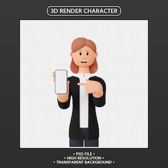 3d render kobiecej postaci skierowanej w górę smartfona